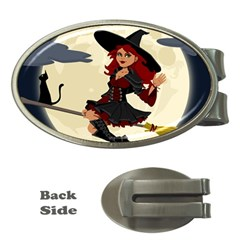 Witch Witchcraft Broomstick Broom Money Clips (Oval)