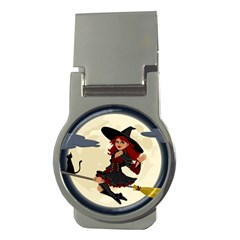 Witch Witchcraft Broomstick Broom Money Clips (Round)