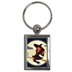 Witch Witchcraft Broomstick Broom Key Chains (Rectangle)