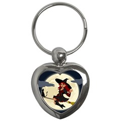 Witch Witchcraft Broomstick Broom Key Chains (Heart)