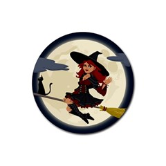 Witch Witchcraft Broomstick Broom Rubber Round Coaster (4 pack)