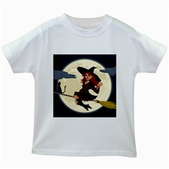 Witch Witchcraft Broomstick Broom Kids White T-Shirts