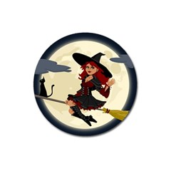 Witch Witchcraft Broomstick Broom Magnet 3  (Round)