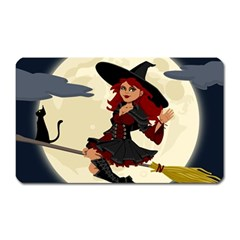 Witch Witchcraft Broomstick Broom Magnet (Rectangular)