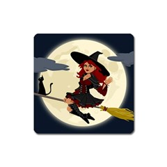 Witch Witchcraft Broomstick Broom Square Magnet