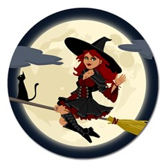 Witch Witchcraft Broomstick Broom Magnet 5  (Round)