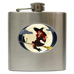 Witch Witchcraft Broomstick Broom Hip Flask (6 oz)