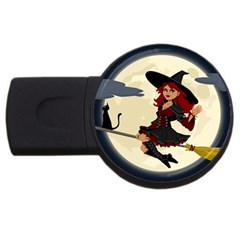 Witch Witchcraft Broomstick Broom USB Flash Drive Round (1 GB)