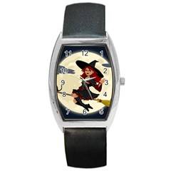 Witch Witchcraft Broomstick Broom Barrel Style Metal Watch