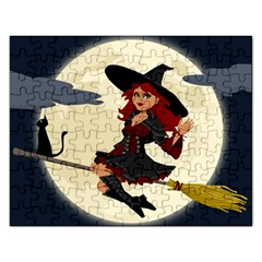 Witch Witchcraft Broomstick Broom Rectangular Jigsaw Puzzl