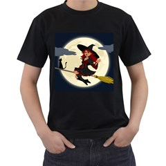 Witch Witchcraft Broomstick Broom Men s T-Shirt (Black) (Two Sided)