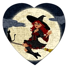 Witch Witchcraft Broomstick Broom Jigsaw Puzzle (Heart)