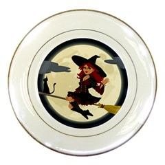 Witch Witchcraft Broomstick Broom Porcelain Plates