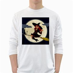 Witch Witchcraft Broomstick Broom White Long Sleeve T-Shirts
