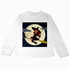 Witch Witchcraft Broomstick Broom Kids Long Sleeve T-Shirts