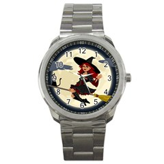 Witch Witchcraft Broomstick Broom Sport Metal Watch