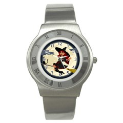 Witch Witchcraft Broomstick Broom Stainless Steel Watch