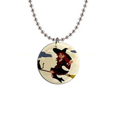 Witch Witchcraft Broomstick Broom Button Necklaces