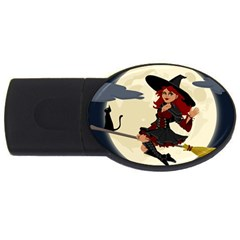Witch Witchcraft Broomstick Broom USB Flash Drive Oval (4 GB)