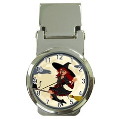 Witch Witchcraft Broomstick Broom Money Clip Watches