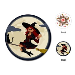 Witch Witchcraft Broomstick Broom Playing Cards (Round)