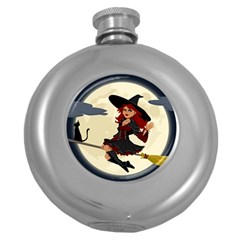 Witch Witchcraft Broomstick Broom Round Hip Flask (5 oz)