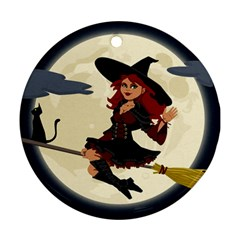 Witch Witchcraft Broomstick Broom Round Ornament (Two Sides)
