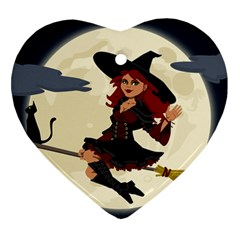 Witch Witchcraft Broomstick Broom Heart Ornament (2 Sides)