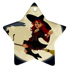 Witch Witchcraft Broomstick Broom Star Ornament (Two Sides)