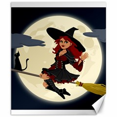 Witch Witchcraft Broomstick Broom Canvas 8  x 10