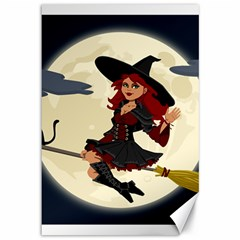 Witch Witchcraft Broomstick Broom Canvas 12  x 18