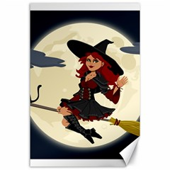 Witch Witchcraft Broomstick Broom Canvas 24  x 36