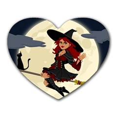 Witch Witchcraft Broomstick Broom Heart Mousepads