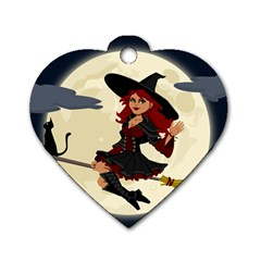 Witch Witchcraft Broomstick Broom Dog Tag Heart (Two Sides)