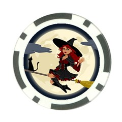 Witch Witchcraft Broomstick Broom Poker Chip Card Guards