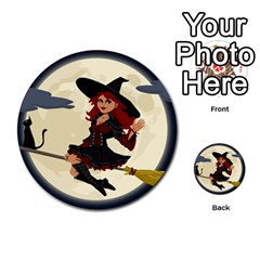 Witch Witchcraft Broomstick Broom Multi-purpose Cards (Round)