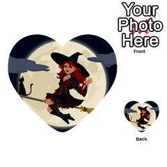 Witch Witchcraft Broomstick Broom Multi-purpose Cards (Heart)