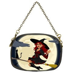 Witch Witchcraft Broomstick Broom Chain Purses (One Side)