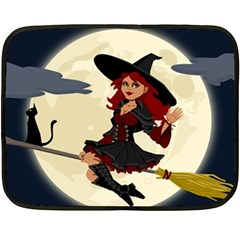 Witch Witchcraft Broomstick Broom Fleece Blanket (Mini)