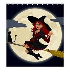 Witch Witchcraft Broomstick Broom Shower Curtain 66  x 72  (Large)