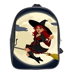 Witch Witchcraft Broomstick Broom School Bags(Large)