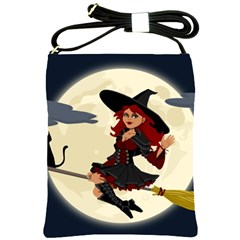 Witch Witchcraft Broomstick Broom Shoulder Sling Bags