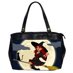 Witch Witchcraft Broomstick Broom Office Handbags (2 Sides)