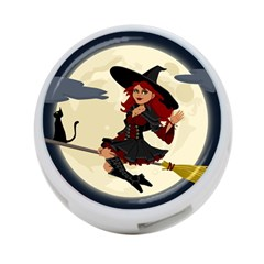 Witch Witchcraft Broomstick Broom 4-Port USB Hub (One Side)