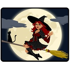 Witch Witchcraft Broomstick Broom Fleece Blanket (Medium)