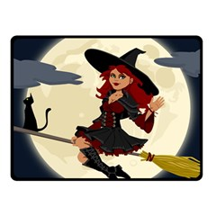 Witch Witchcraft Broomstick Broom Fleece Blanket (Small)