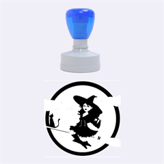 Witch Witchcraft Broomstick Broom Rubber Round Stamps (Medium)