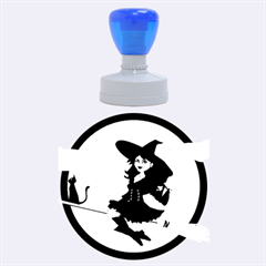 Witch Witchcraft Broomstick Broom Rubber Round Stamps (Large)