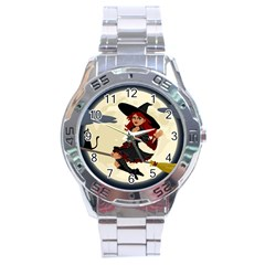 Witch Witchcraft Broomstick Broom Stainless Steel Analogue Watch