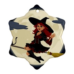 Witch Witchcraft Broomstick Broom Snowflake Ornament (2-Side)